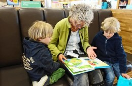 Image of a grandma reading to her two grandchildren.