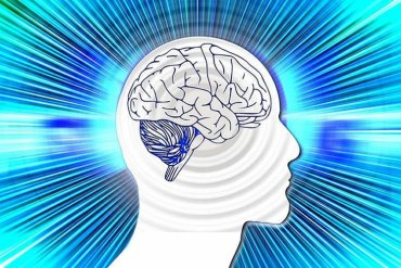 Image shows the outline of a head and brain against a blue background.