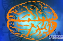 Image shows a brain against a DNA double helix background.