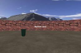 Illustration of a wall, a trash can and a mountain.