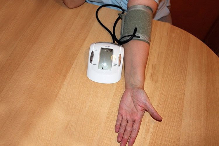 Image shows a blood pressure monitor.