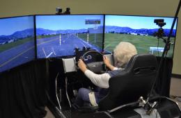 Infographic shows a person in the driving simulator.