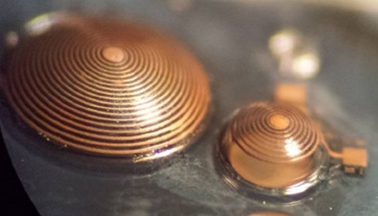 Image shows the hemispherical coils for localized neural stimulation.