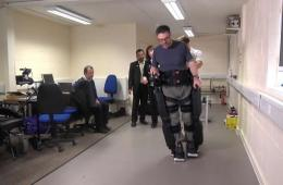Image shows a patient using the robotic legs.