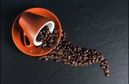 Image shows a cup and coffee beans.