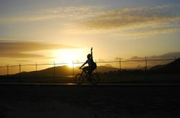 Image shows a person riding a bike.