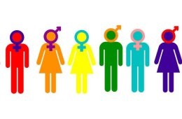 Image shows drawings of males and females with the gender signs in place of their heads.