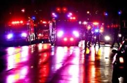 Image shows emergency vehicles.