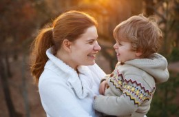 Image shows a mom and son.