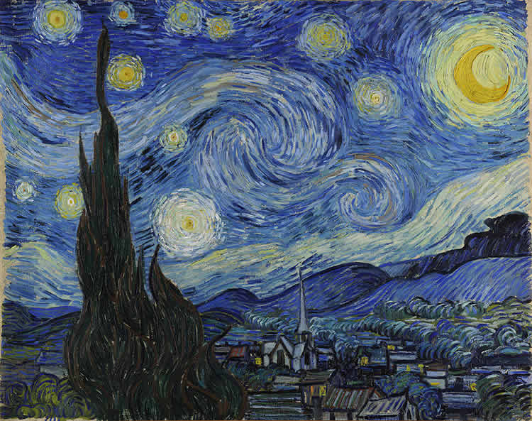 Image shows Vincent van Gogh's Starry Night.
