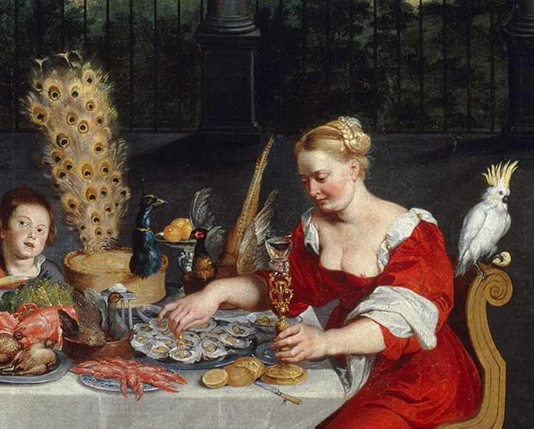 "Image shows the painting ""The Senses of Hearing, Touch and Taste""."