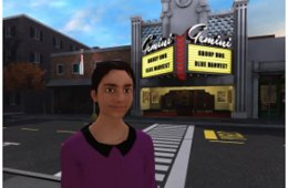 Image shows a vr girl by a movie theatre.