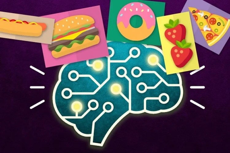 Image shows food and a brain.