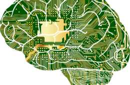 Image shows a brain made of computer chips.