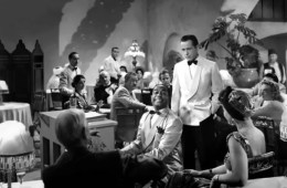 Image shows a scene from Casablanca.