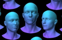 Image shows computer generated faces.