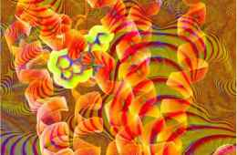 Image shows a psychedelic pattern and chemical structure of LSD.