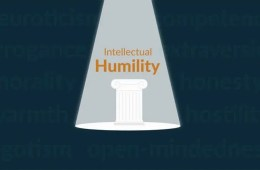 Image shows the words 'intellectual humility' in a spotlight.