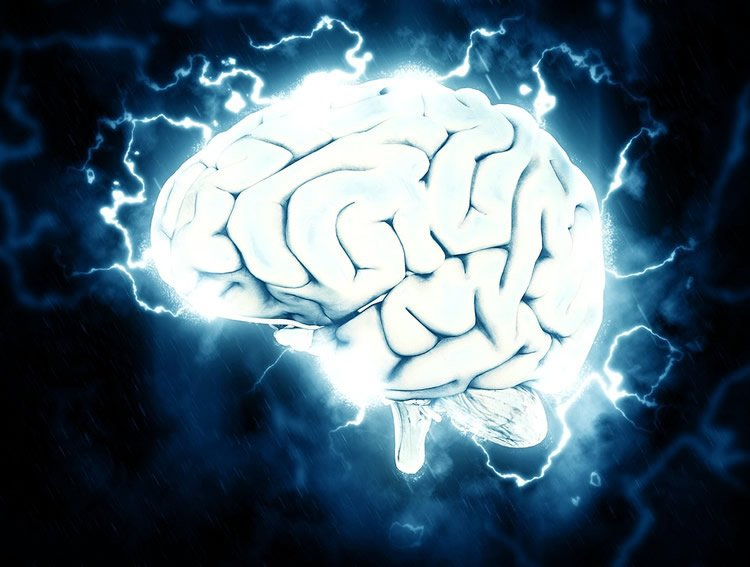 Image shows a brain surrounded by electric bolts.
