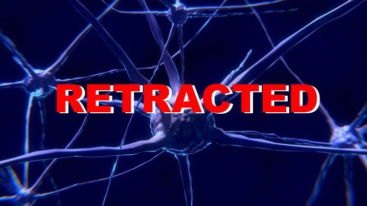 Image shows a neurons and the word Retracted.