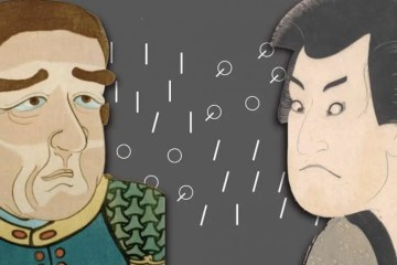 Image shows cartoon of a japanese person and a western looking person.