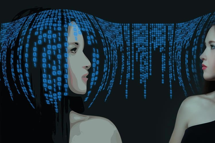 Image shows a woman and computer code.