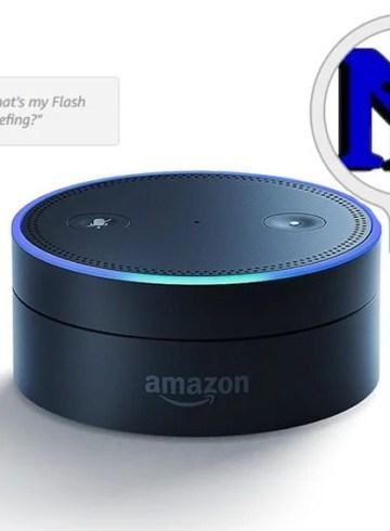 Image shows a an Amazon echo dot and the neuroscience news logo.