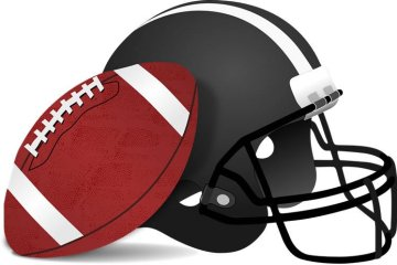 Image shows a football helmet and a ball.
