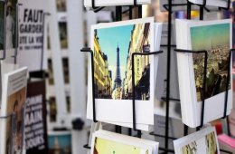 Image shows postcards of Paris.