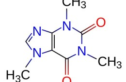 Image shows a chemical diagram of caffeine.
