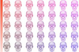 Image shows a graph made up of faces.