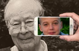 Image shows a young child and old man.