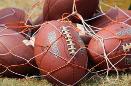 Image shows footballs in a net.