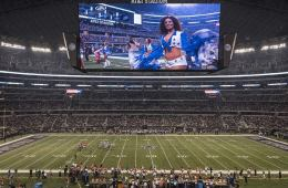 Image shows the Dallas Cowboys playing at ATT stadium. Go Cowboys!