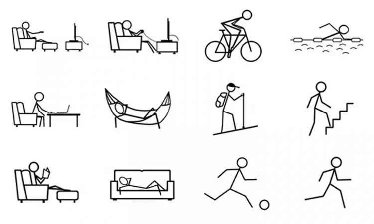 stick figure cartoons of people being active and lazy