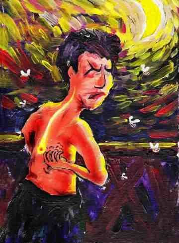 painting of a man scratching