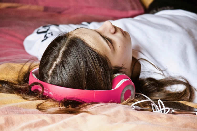 a person listening to music