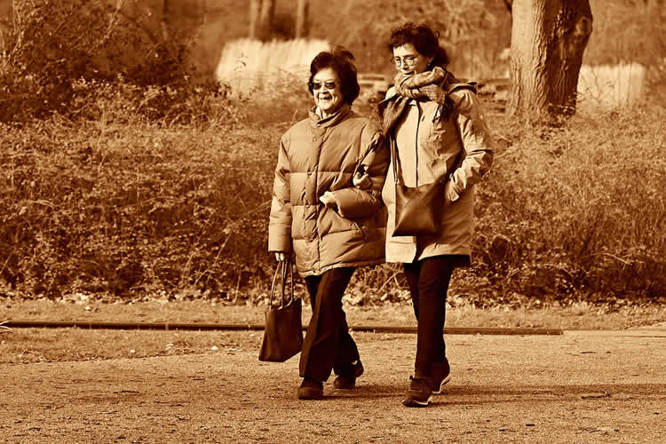 This shows two older ladies walking in a park