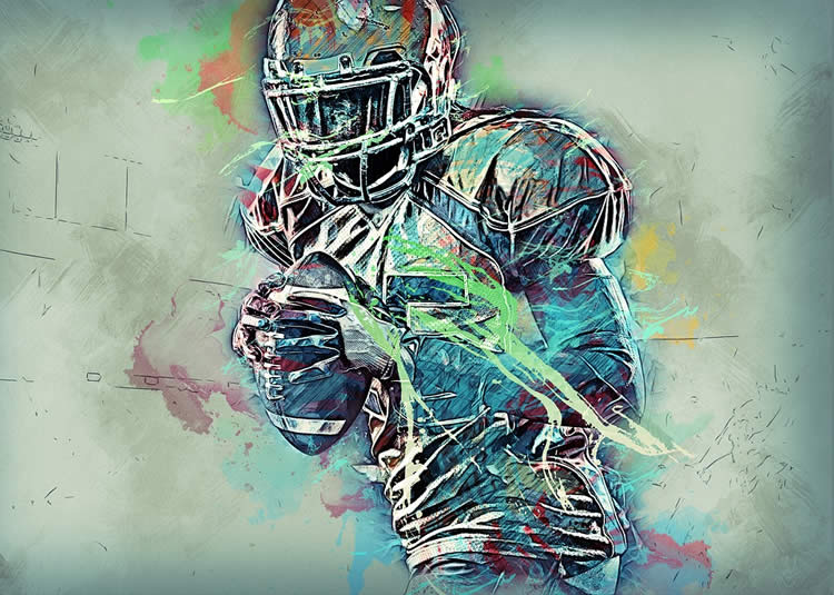 This is a drawing of a football player