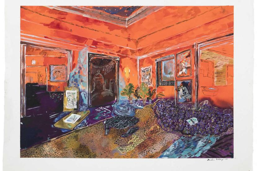 This is a painting of a room