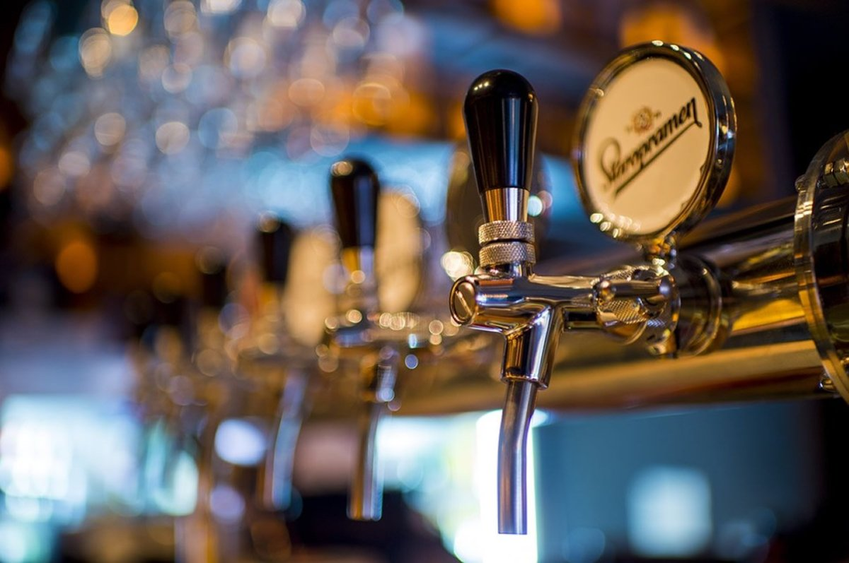 This shows a beer tap in a bar