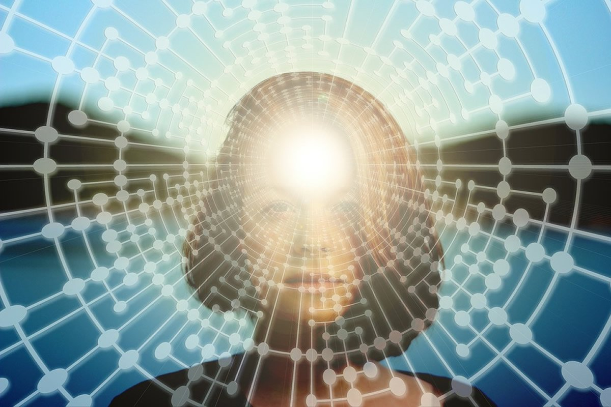This shows a woman's face and light coming out of her head