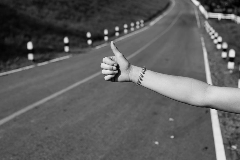 This shows a hitch hiking hand