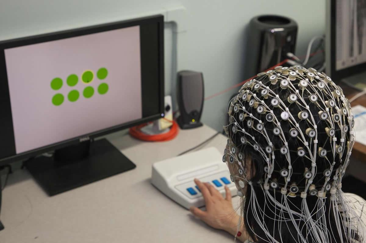 This shows a person in an EEG cap