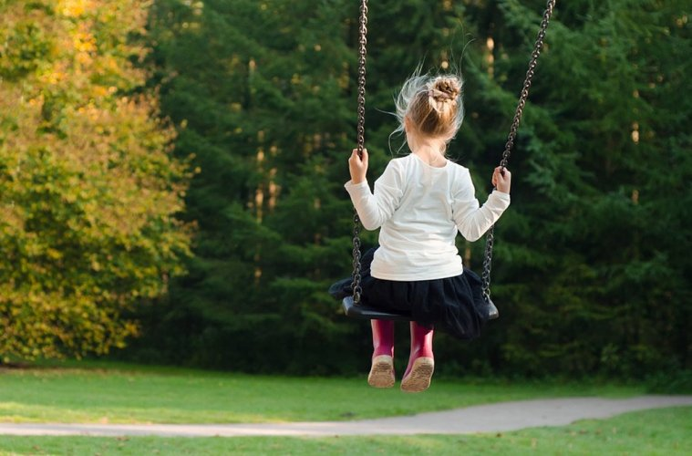 This shows a child on a swing