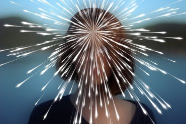 This shows a woman with lights surrounding her head