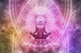 This shows a person in the lotus position with a psychedelic background