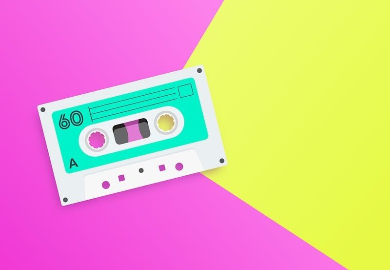 This is a drawing of an old cassette tape