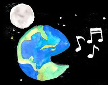 This is a drawing of the earth singing