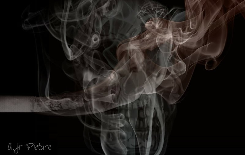 This shows smoke against a black background